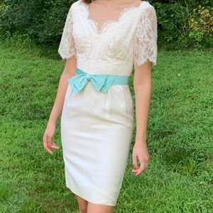 Vintage 1950's White Lace Wiggle Cocktail Dress